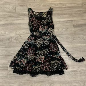 Guess Black Floral Midi Dress with lace details